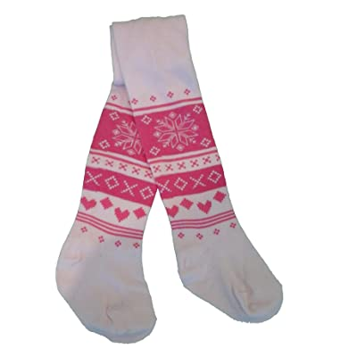 Baby Girls Tights with Pink Snowflakes by Nifty. Ages Birth - 2 yrs