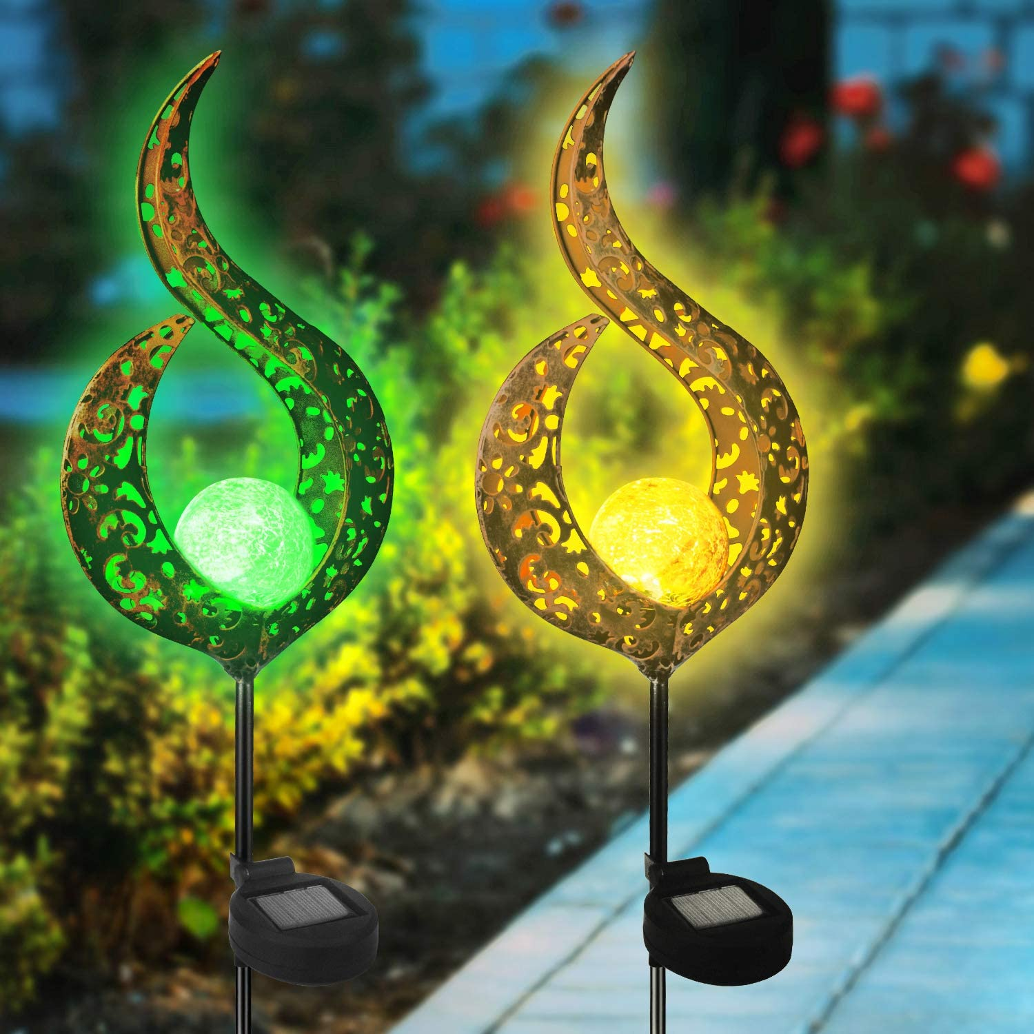 Beinhome 2 Pack Solar Garden Lights Crackle Glass Ball Metal Stake Waterproof Outdoor Decorative Lights Warm White for Patio, Yard, Lawn, Pathway
