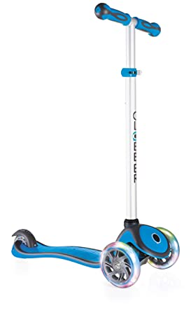 Globber 3 Wheel Adjustable Height Scooter with LED Light Up Wheels (Light Blue)