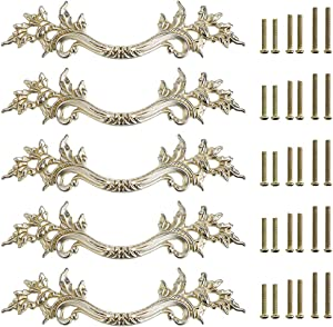 JuxYes Pack of 5 European Style Vintage Cabinet Handles Pulls, Antique Decorative Dresser Drawer Pulls Retro Drawer Pull Handles Knobs for Cupboard Cabinet (Antique Silver)