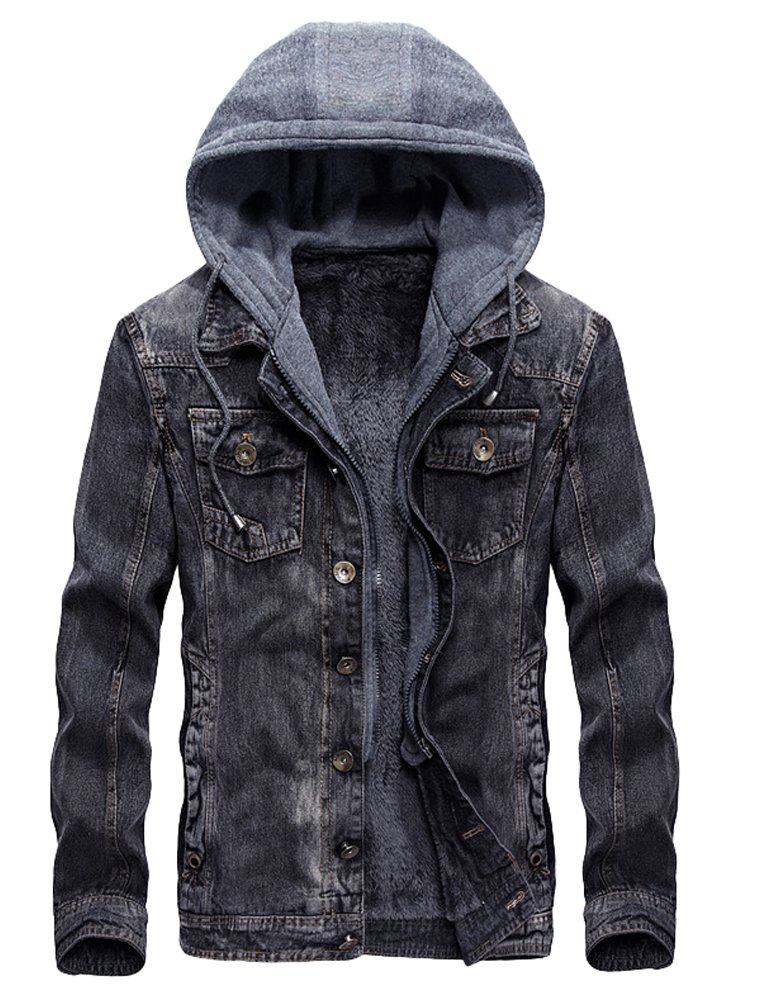 Lavnis Men's Winter Denim Hooded Jacket Slim Fit Casual Jacket Button Down Distressed Jeans Coats Outwear Gray S by Lavnis