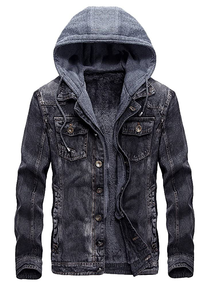 Lavnis Men's Winter Denim Hooded Jacket Slim Fit Casual Jacket Button Down Distressed Jeans Coats Outwear VGS554