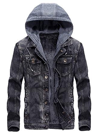 1a419d183a6e8 Lavnis Men s Winter Denim Hooded Jacket Slim Fit Casual Jacket Button Down  Distressed Jeans Coats Outwear
