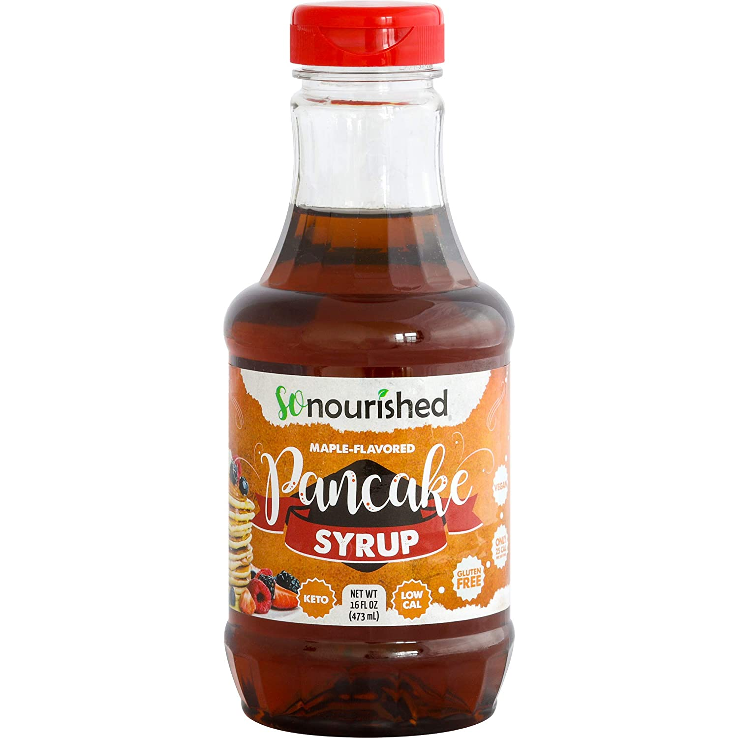 Keto Pancake Maple Syrup by So Nourished - 16 FL OZ - 1g Net Carb, Sugar Free Syrup, Made in USA, Low Calorie, Low Carb, Gluten-Free, Vegan