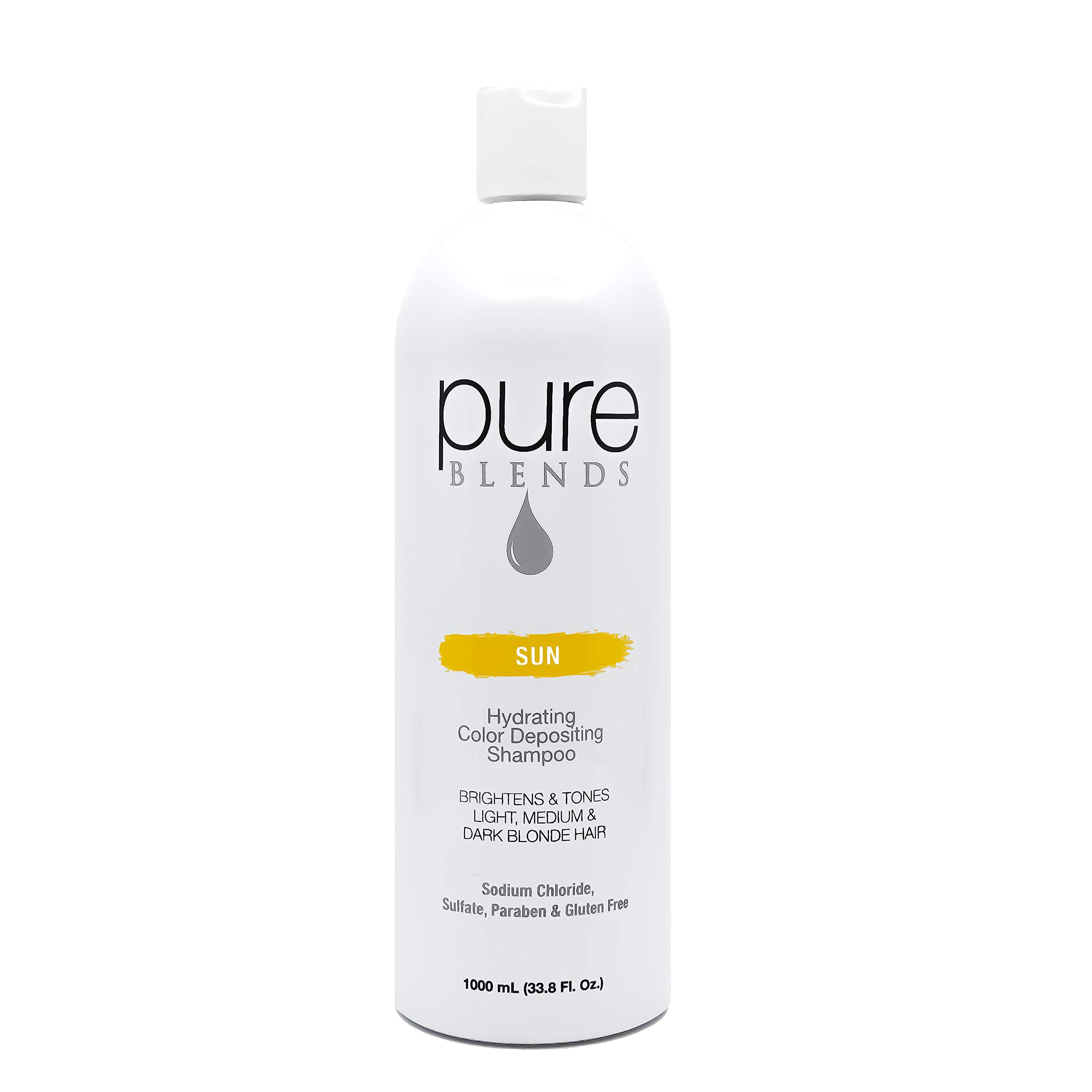 Pure Blends Hydrating Color Depositing Shampoo - Sun (Light, Medium & Dark Blonde) 33.8 Ounce - Salon Quality by Pure Blends