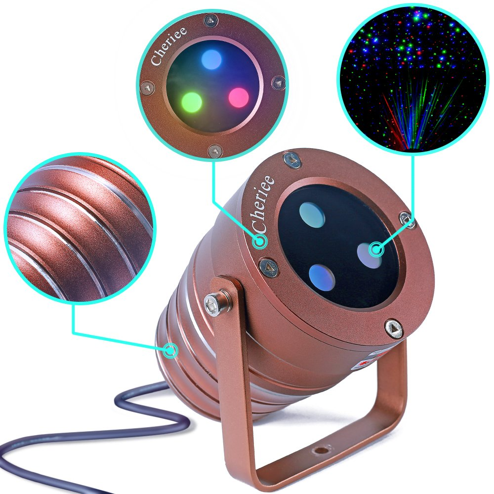 Cheriee Laser Christmas Lights Outdoor Projector Light Star Moving Laser Show Red, Green and Blue Holiday Light Waterproof Landscape Spotlight Aluminum Garden Decorations by CHERIEE (Image #1)