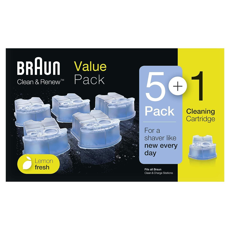 Braun Clean& Renew - Pack de 5+1 cartuchos de recarga de líquido limpiador para sistema Clean& Renew, estación de limpieza Clean& Charge Procter & Gamble 4210201195351