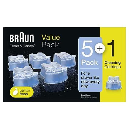 Braun Clean Renew - Pack de 5+1 cartuchos de recarga de líquido limpiador  para sistema 3ab8e66c4ac7