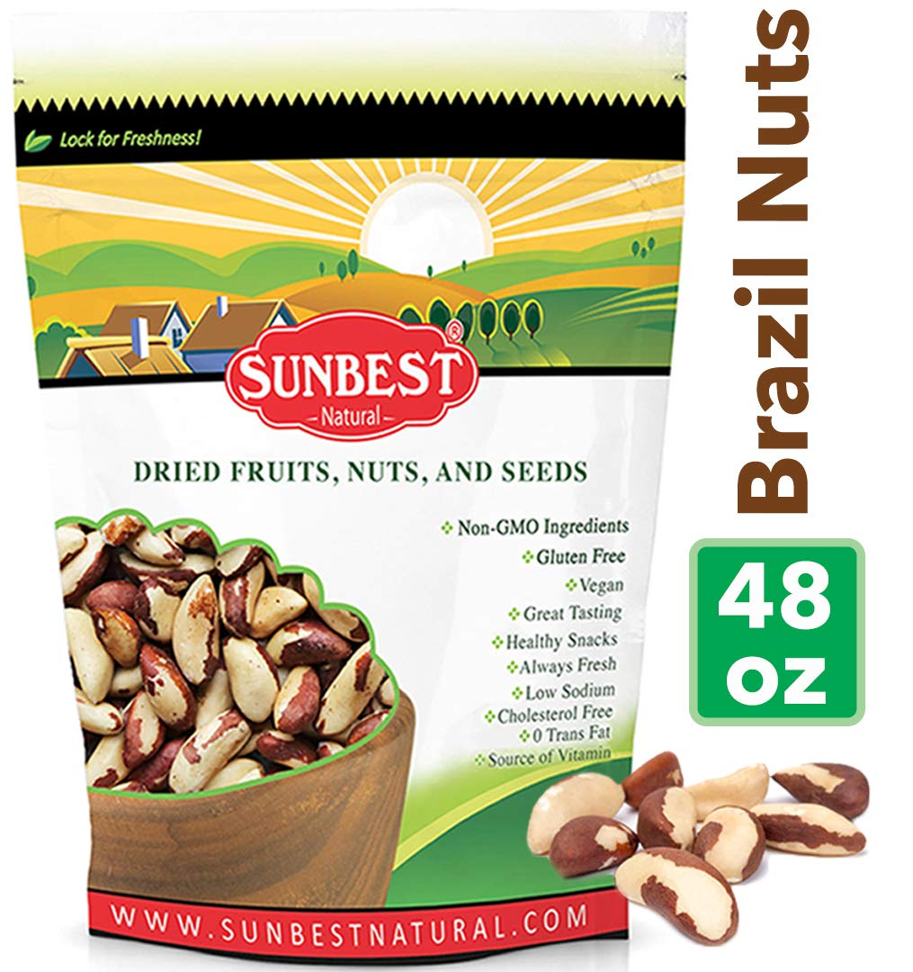 SUNBEST Whole, Raw, Shelled Brazil Nuts in Resealable Bag ... (3 Lb)