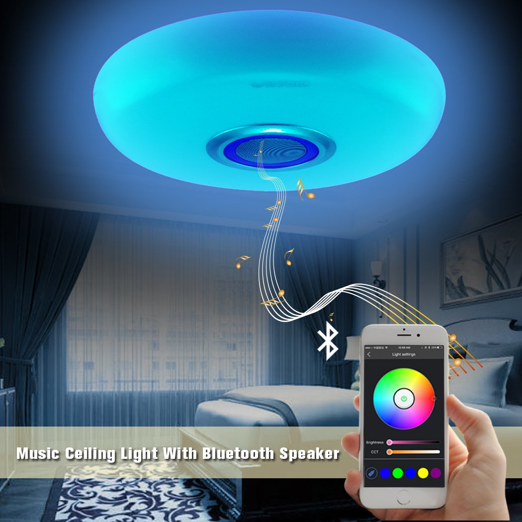 Led Music Ceiling Light with Bluetooth Speaker 20W, Modern Light Fixtures with RGB Color Changing,17.7inch 60W Home Party Light with Remote Control for Bedroom Living Room Dining Room Wedding(Blue) by BB SPEAKER