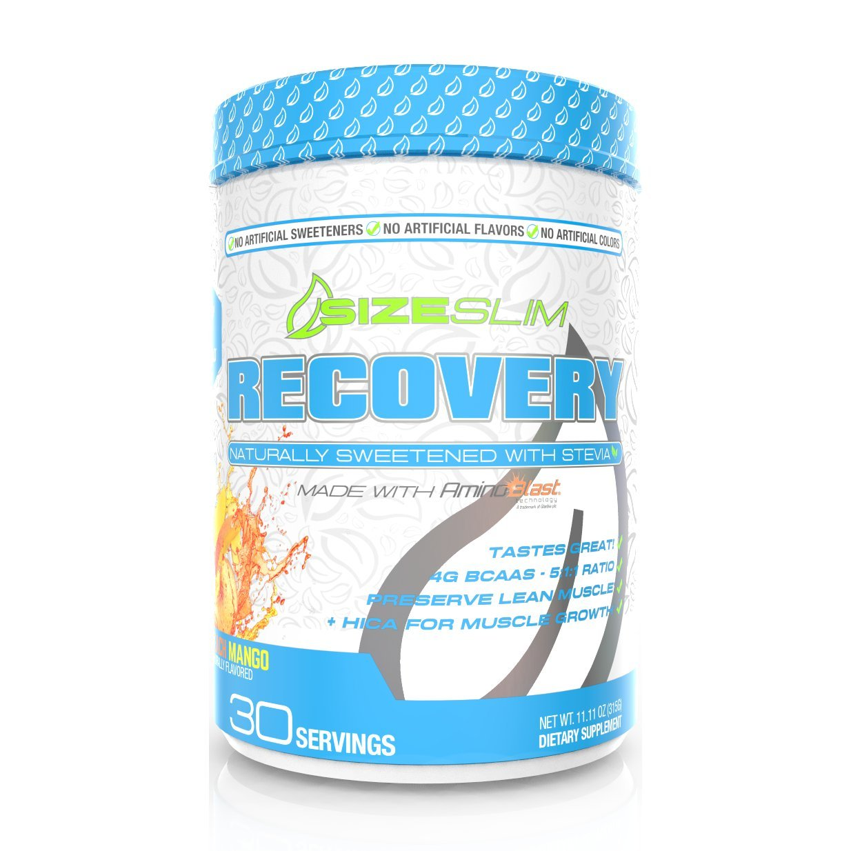 SizeSlim Stevia Recovery Peach Mango-Diabetic Friendly, Naturally Flavored & Sweetened, 4G of BCAAs in a Powerful 5:1:1 Ratio with Electrolytes, Reduce Soreness & Decrease Recovery Time-30 Servings