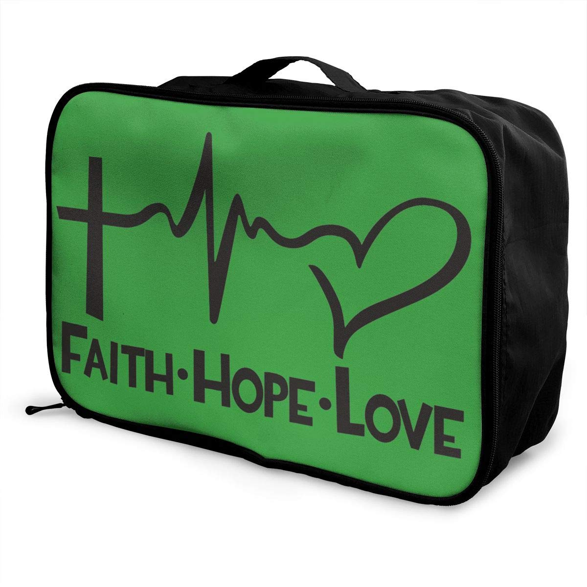 Travel Luggage Duffle Bag Lightweight Portable Handbag Faith Hope Love Large Capacity Waterproof Foldable Storage Tote