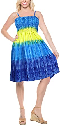 seashore one size fit coverup Women/'s BLUE tropical tie-dyed dress