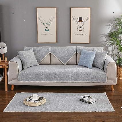 Amazon.com: SQINNA Linen Sofa Cover,Solid Color Sofa slipcover with ...