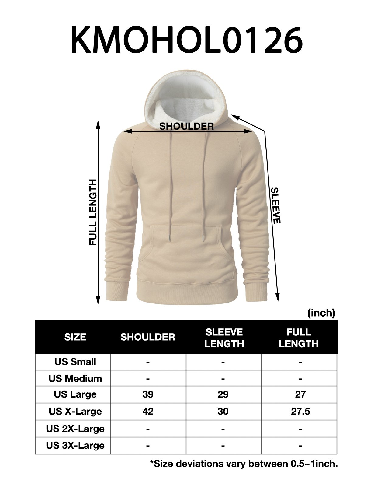 H2H Men's Fine Quality Plush Fleece Lined Pullover Beige US L/Asia XL (KMOHOL0126) by H2H (Image #6)