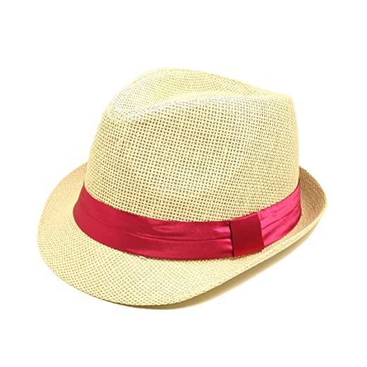 92a80b3a931509 TrendsBlue Classic Natural Fedora Straw Hat with Fuchsia Color Band ...