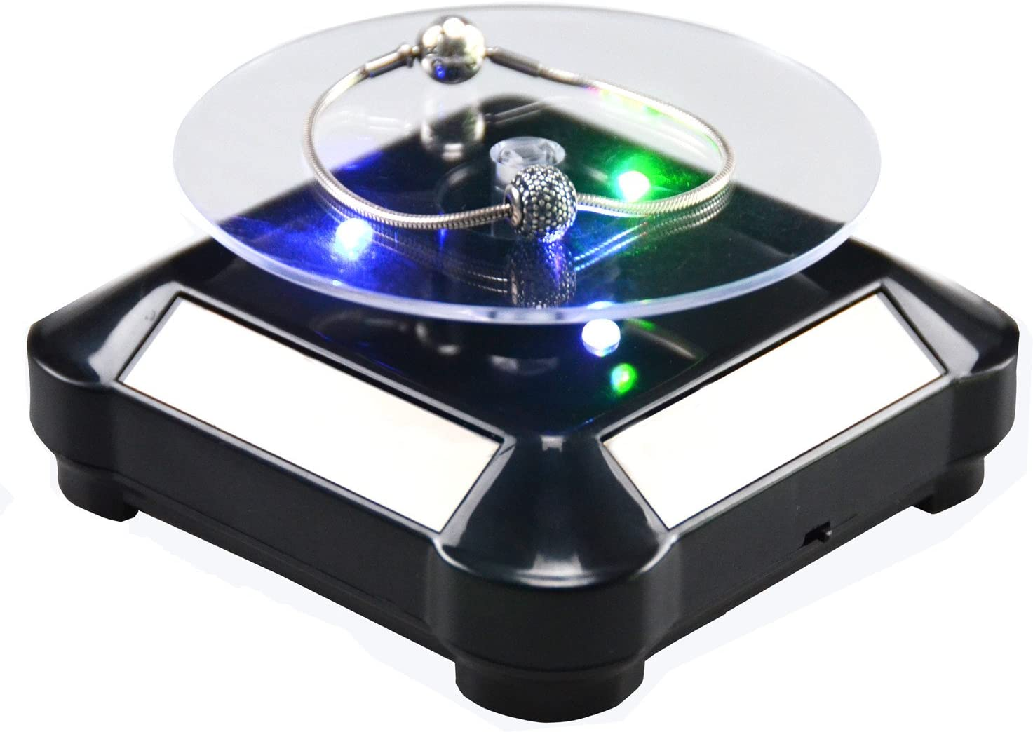"Black 10/"" Shop Display Stand 360 Degree Jewelry Rotating Turntable W LED Light"