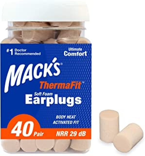 product image for Mack's ThermaFit Soft Foam Earplugs, 40 Pair - Comfortable Ear Plugs for Sleeping, Snoring, Work, Travel & Loud Events