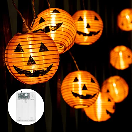 Minetom Halloween Pumpkin Lanterns String Lights, 20 LED Battery Powered Holiday String Lights, 3D Jack-O-Lantern Orange Pumpkin Lights for Halloween Indoor Decorations