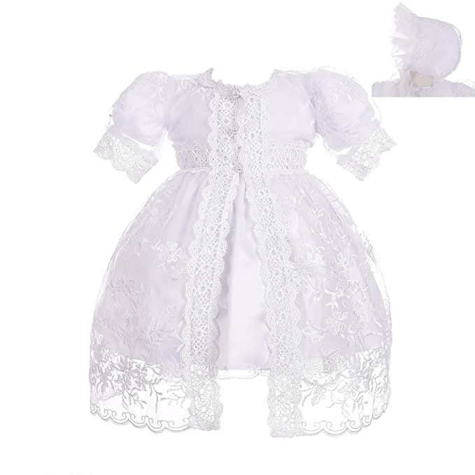 567d1059db4 Dressy Daisy Baby Girls  Baptism Dress Christening Gown with Cape Bonnet  Embroidered Christening Outfit for