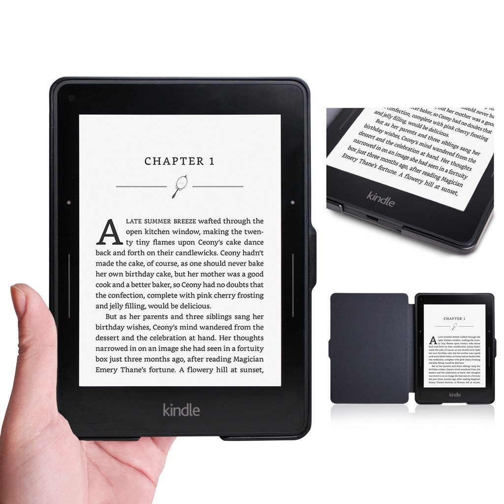 Walnew Protective case for Amazon Kindle Voyage(2014) The Thinnest and Lightest Colorful Painting PU Leather Cover with Auto Sleep/Wake Function,Tree and Flower by WALNEW (Image #7)