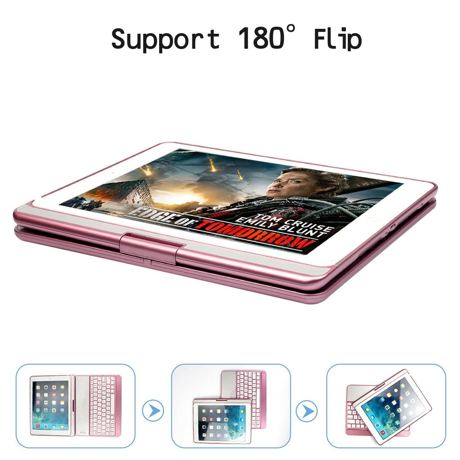 Sammid Bluetooth Keyboard Case for 2018 New iPad 9.7, 360 Degree Rotation with Multiple Angle Viewing Keyboard Case Smart Auto Sleep-Wake Cover for 9.7 inch 2017/2018 New iPad - Rose Gold by Sammid (Image #6)