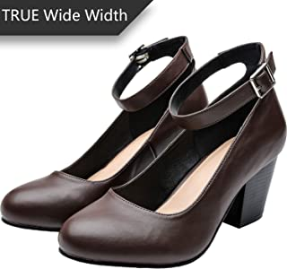 33ddd0330f554 Women's Wide Width Heel Pump - Ankle Buckle Strap Round Closed Toe Dressing  Shoes.