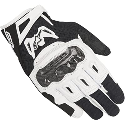 Alpinestars Men's SMX-2 Air Carbon V2 Leather Motorcycle Glove, Black/White, Small: Automotive