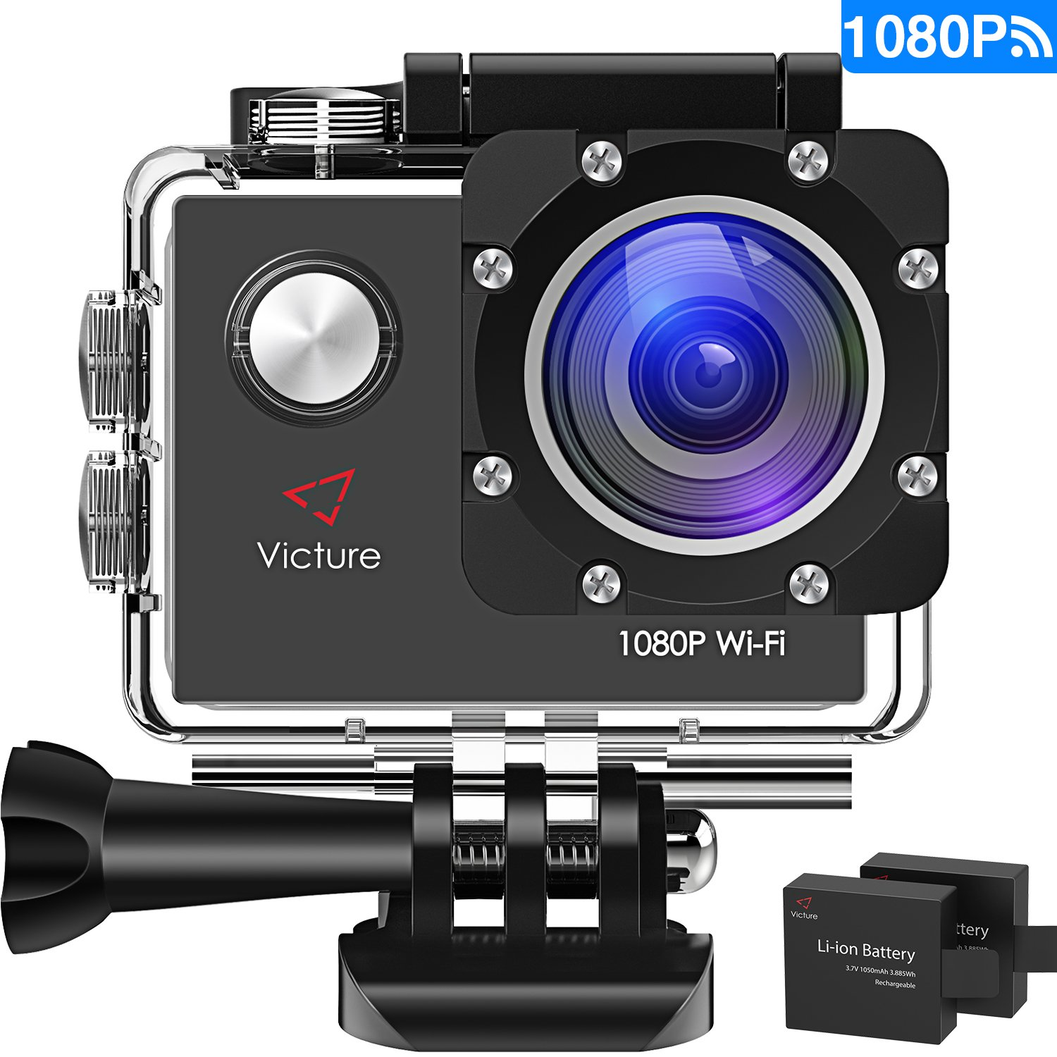 "Victure WIFI Action Cam Full HD 1080 P Sport Action Camera Waterproof 2 ""170 ° LCD com 2 bateria 20+ Kit de acessórios"