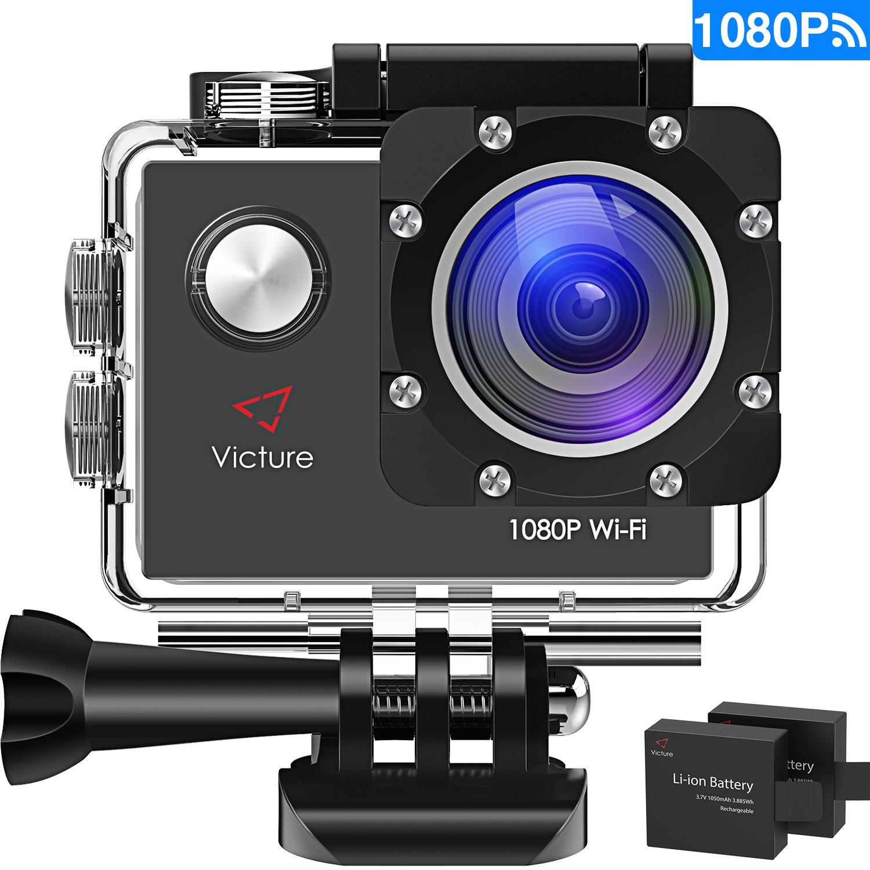 "Victe WIFI动作凸轮全高清1080P运动行动相机防水2""LCD 170°度与2 20电池+配件套件"