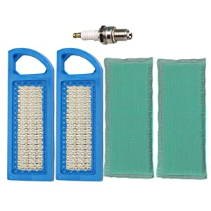 Buckbock 2Pack Air Filters & Pre Filter with Spark Plug for Briggs & Stratton 697153 697014 697014 697634 698083 795115 797008 Stens 102-875 Oregon 30-122 33425 John Deere Gy20573 M149171 Lowes 59471