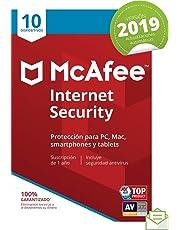 McAfee Internet Security 2019 - Antivirus, PC/Mac/Android/Smartphones, 10 Dispositivos, Suscripción de 1 año