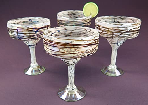 Mexican Glass Margarita red white iridescent swirl 15 oz. hand blown set of 6