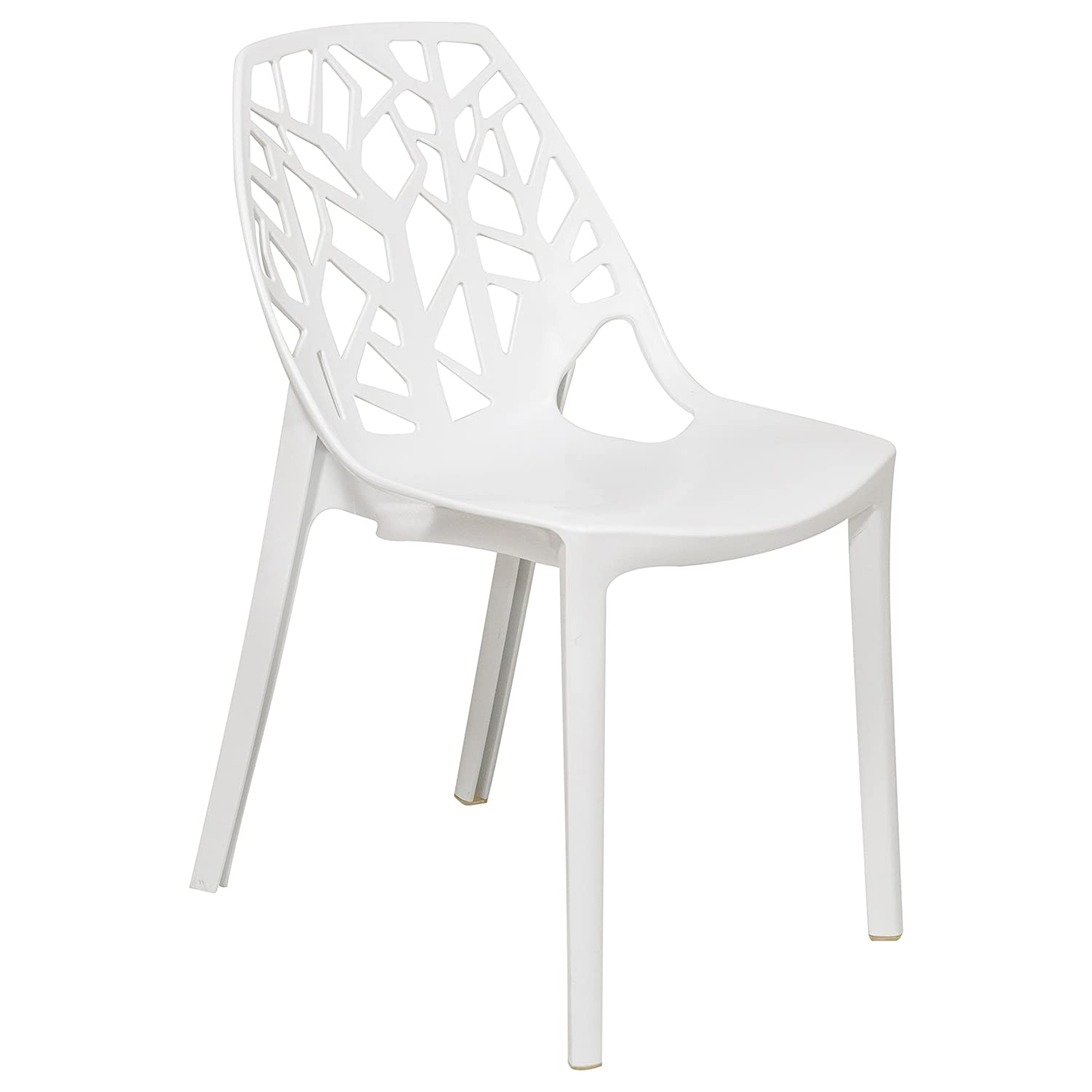 LeisureMod Caswell Cut-Out Tree Design Modern Dining Chairs Solid White