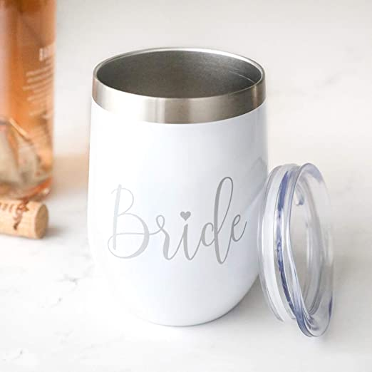 Wedding Gift 12 oz White Stainless Steel Insulated Wine Tumbler with Lid Bridal Shower Newly Engaged Bride Wine Tumbler
