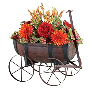 Collections Etc Faux Wood Nostalgic Barrel Wagon Planter with Handle and Drainage Hole at The Bottom