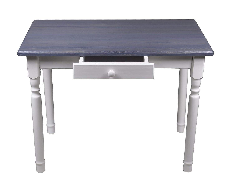 Esstisch mit Schublade Küchentisch Tisch Massiv Kiefer 80 x 60 cm (80x60, Grau)