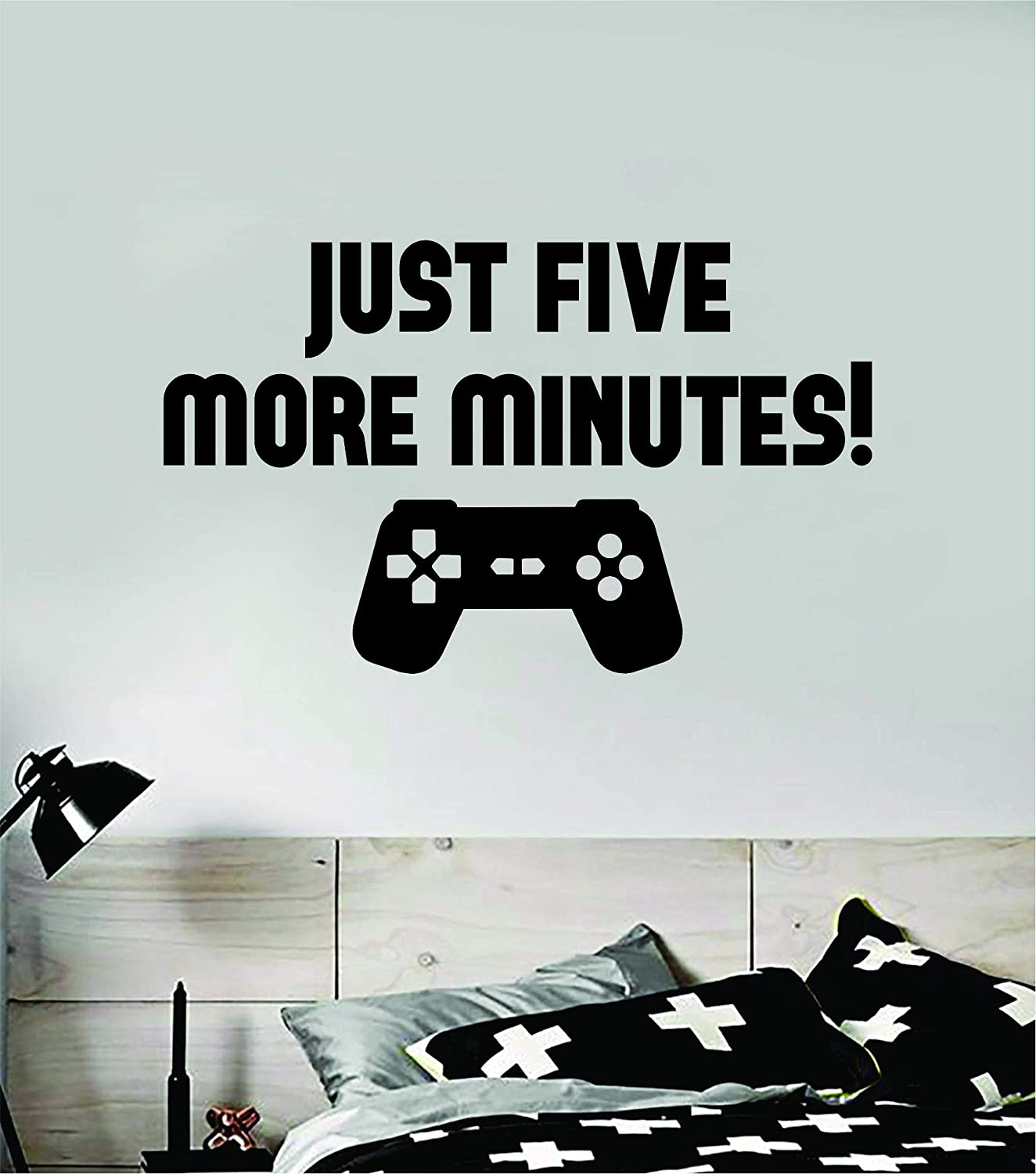 Just Five More Minutes Gamer Wall Decal Quote Home Room Decor Decoration Art Vinyl Sticker Inspirational Funny Controller Gaming Nerd Geek Teen Video PC Console Game Kids