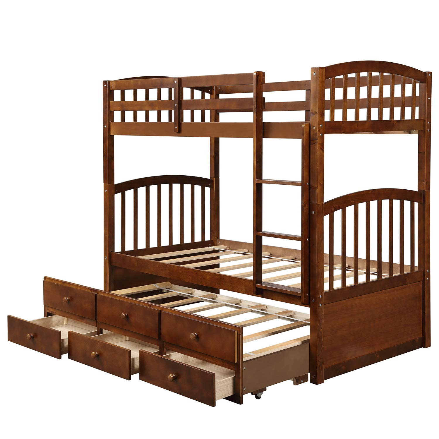 Bunk Ladder, Safety Rail, Twin Trundle Bed with 3 Drawers for Kids, Teens Bedroom, Guest Room Furniture Walnut