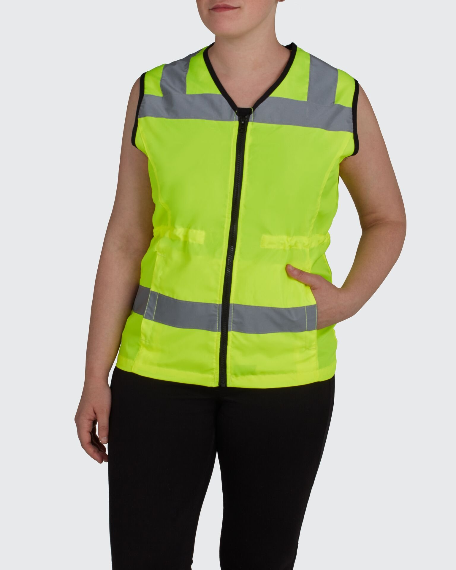 Womens High Visibility Safety Vest: Bright Nylon Surveyor Vests with Reflective Lines Zipper Closure and Teflon Coating - Lime Medium