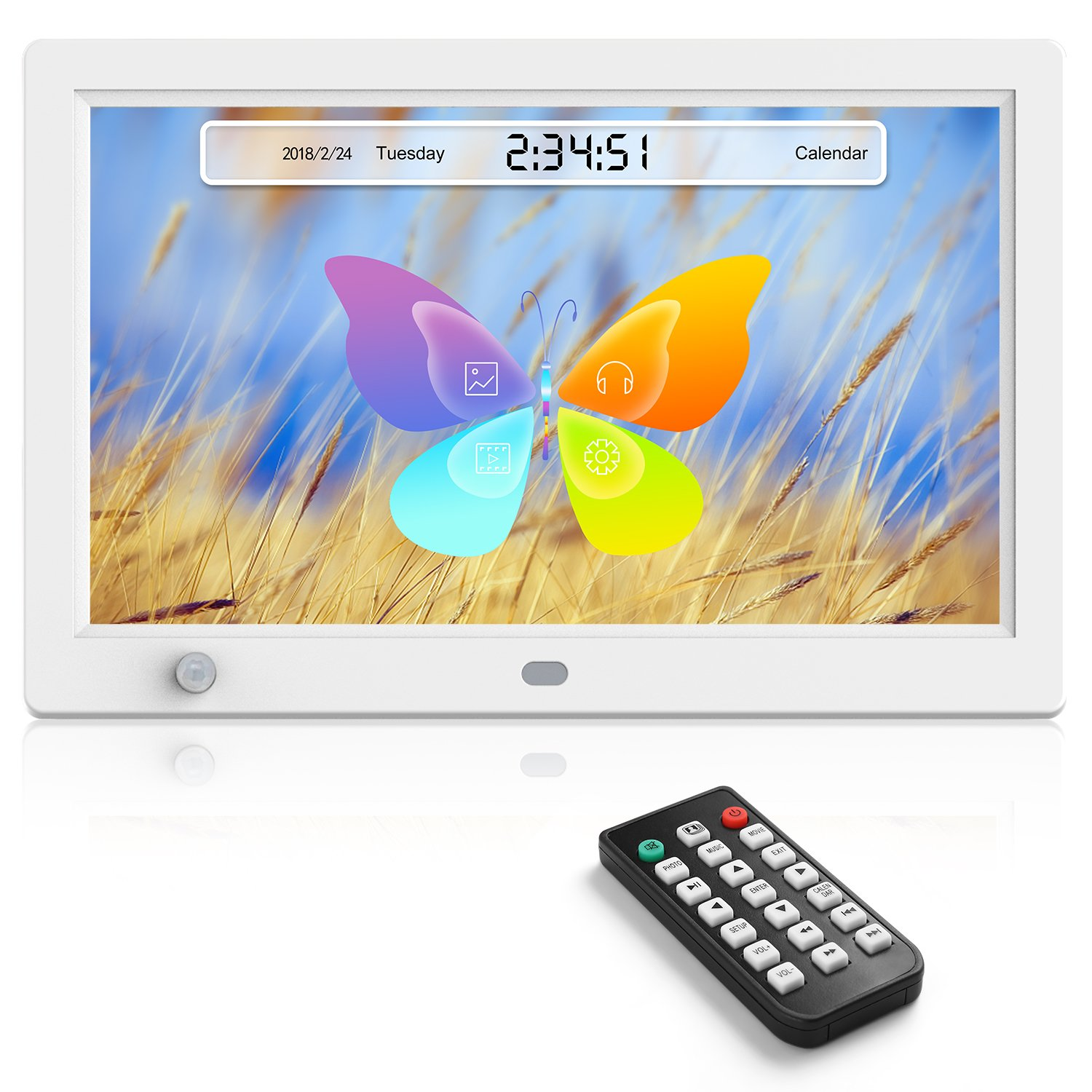 Digital Picture Frames 12 inch Digital Photo & HD Video (1080p) Frame with Motion Sensor White