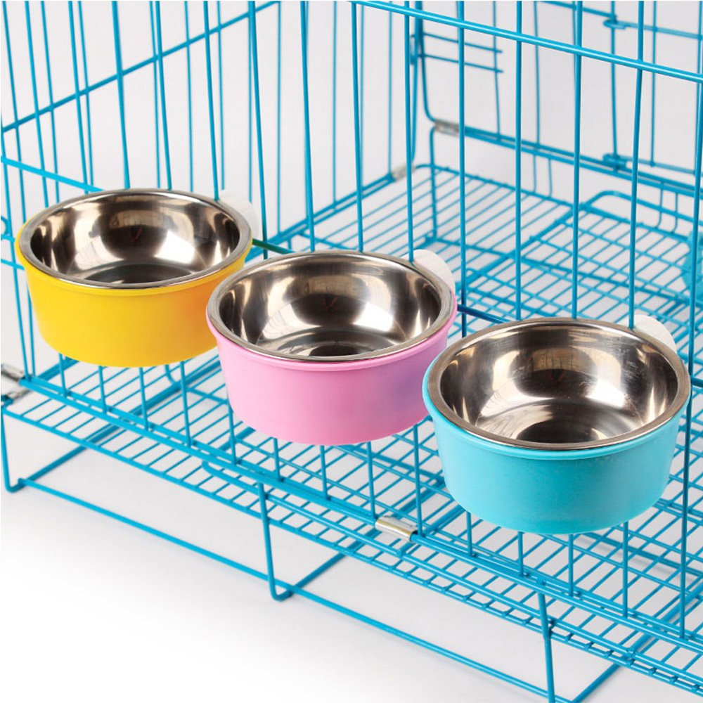 Hanging Dog Pet Cat Feeding Bowl Stainless Steel Plastic Dog Puppy Food Water Feeder Bowl Container Dispenser