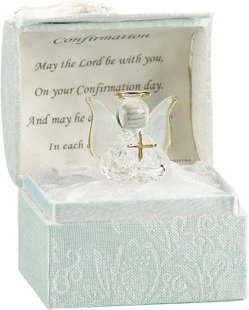 Caja de regalo con ángel para el día de la confirmación, esculpida a mano en oro de 22 quilates, unisex