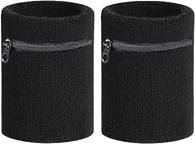Unisex Men Women Wrist Sweatband Sports Running Armband Zipper Pocket Wallet