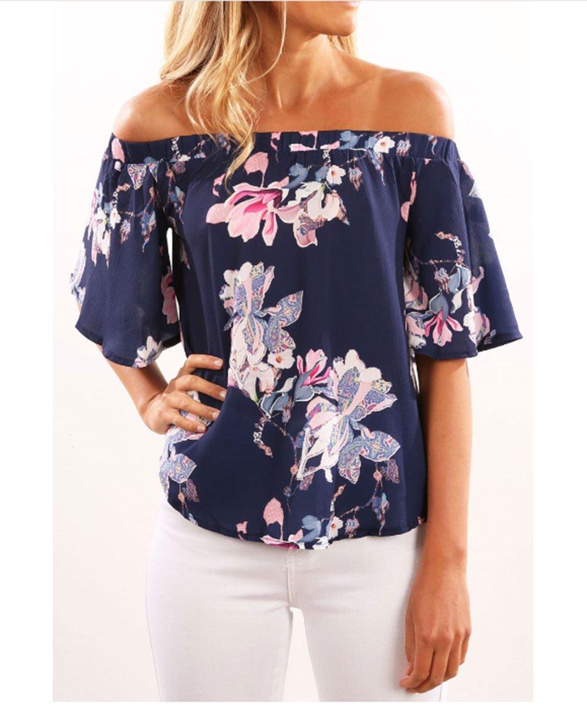 Hippolo Donna Il nuovo collare di parole ha esposto le donne sexy sexy della maglietta (XL, blu)