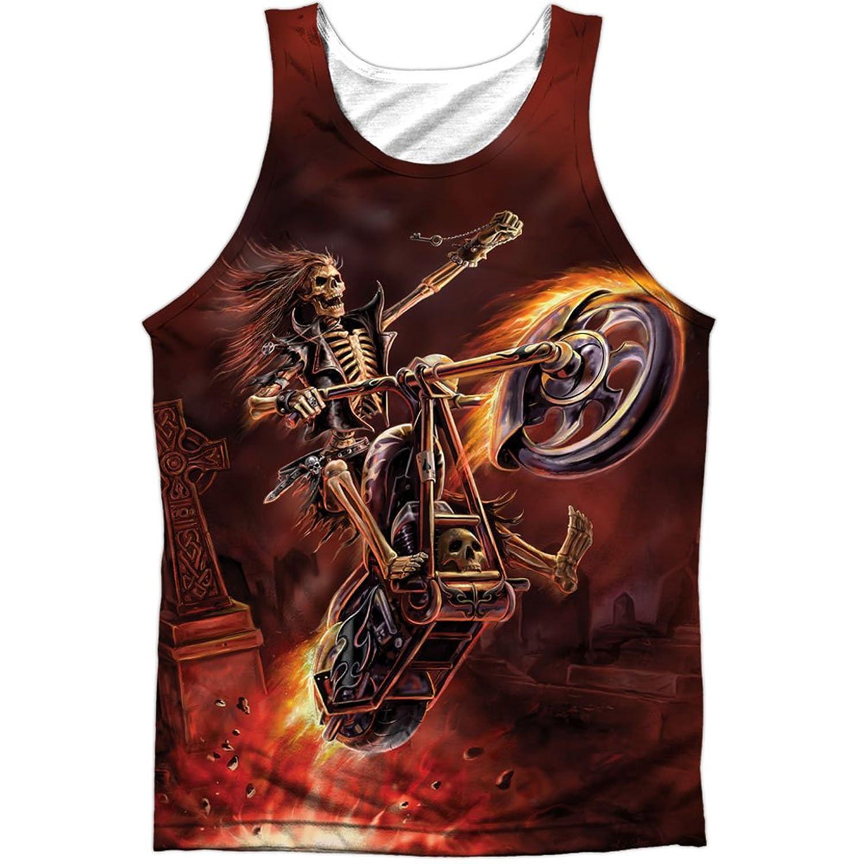 Anne Stokes Artist Hellrider's Graveyard Fire Front Print Tank Top Shirt