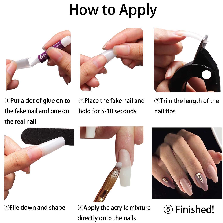 12 Stück Acryl Falsche Künstliche Nägel Tips, Natürliche Kunst Gefälschte  Nägel Tipps Fake Nail Tips für Damen
