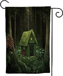 C COABALLA Little House of Moss in an Enchanted Forest,Welcome Garden Flag Garden Yard Banner Lawn Outdoor Decoration 28''x40''