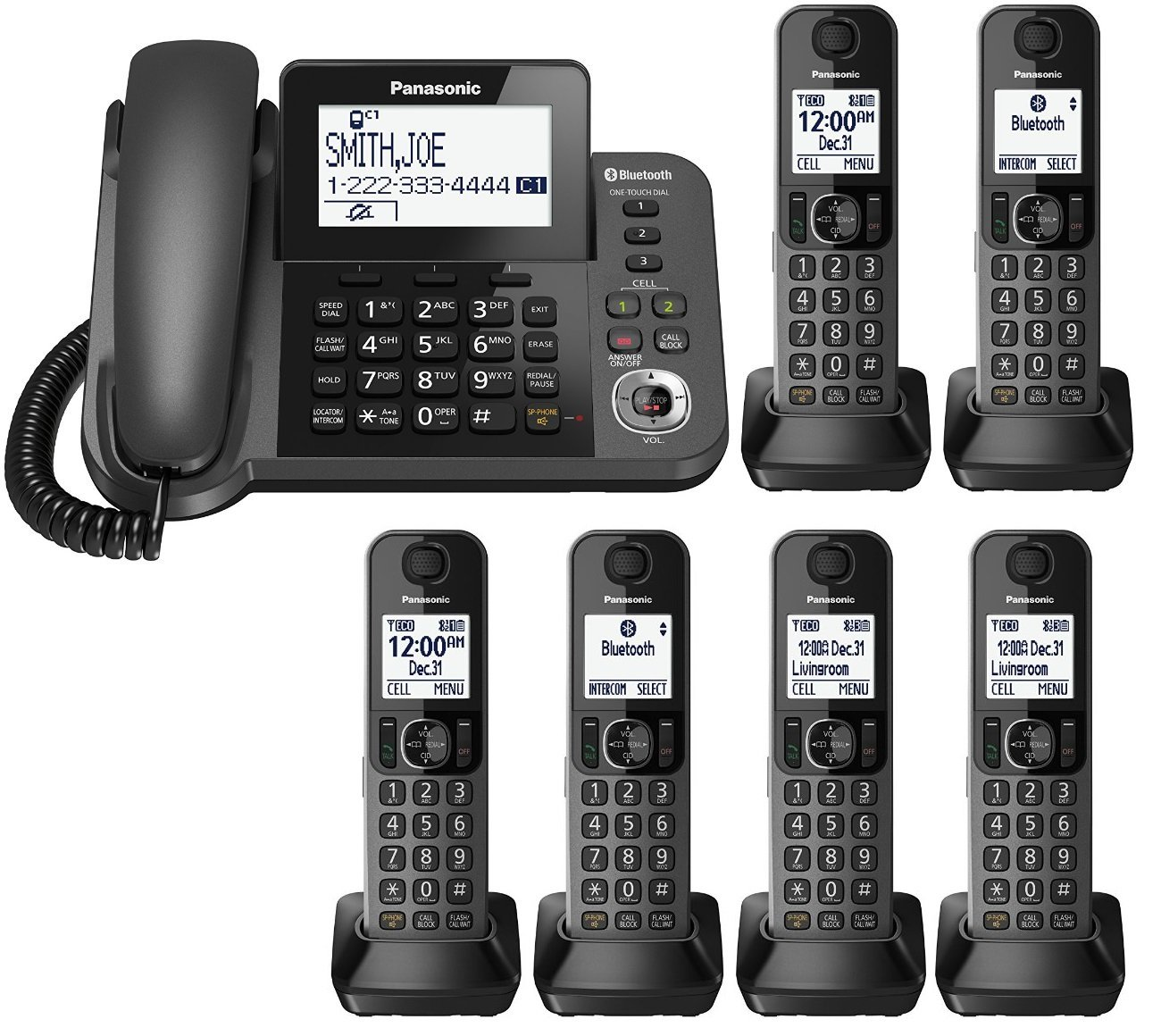 Panasonic KX-TGF383M plus three KX-TGFA30M handsets DECT 6.0 Plus Corded / Cordless 6-Handset Landline Telephone System (KX-TGF383M+3, KX-TGF382M+4, KX-TGF380M+5) (Certified Refurbished)