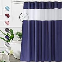 UFRIDAY Cortina de ducha azul marino de 91 x 182 cm, cortina de ducha de tela con forro de ventana, lavable a máquina…